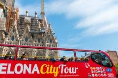Tourist coach near Sagrada Familia in Barcelona Royalty Free Stock Photography