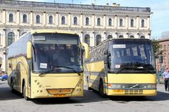 Tourist coaches Stock Photos