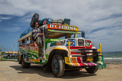 Tourist on a colourful Jeepney Stock Photo