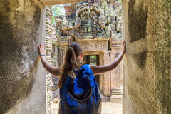 Tourist coming to the ancient temple in Angkor, Cambodia Stock Photos