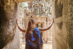 Tourist coming to the Preah Khan temple in Angkor, Cambodia Stock Photos