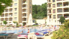 Tourist complex with swimming pool in Golden Sands near Varna. Varna - the sea capital of Bulgaria, a center of shipping and tourism. Today it is the third stock video