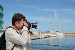 Tourist in the Corsican port Saint-Florent Royalty Free Stock Photography