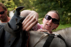 Tourist in Costa Rica with Horse Royalty Free Stock Image