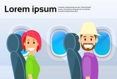 Tourist Couple Airplane Window Cartoon People Man Royalty Free Stock Image