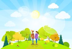 Tourist couple with backpack over summer landscape Royalty Free Stock Image