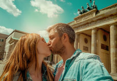 Tourist couple in berlin. Couple visiting berlin on brandenburger tor stock image