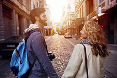 Tourist couple city Royalty Free Stock Images