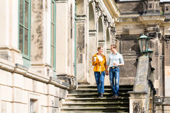 Tourist couple in Dresden having walk royalty free stock photography