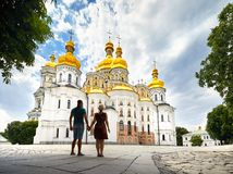 Tourist couple in Kiev Pechersk Lavra Royalty Free Stock Images