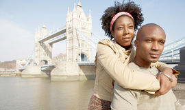 Tourist couple in London portrait. Stock Images