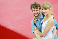 Tourist couple in love traveling together dating Stock Image