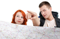 Tourist couple with map Stock Photos