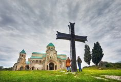 Traveler at Bagrati church in Kutaisi Stock Photos