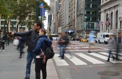 Tourist Couple in New York City Manhattan Taking a Selfie Photo Midtown NYC Shooting Selfie Pictures stock photos
