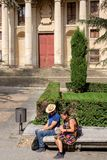 Tourist Couple Reading Map in Salamanca, Spain royalty free stock photography
