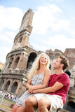 Tourist couple in Rome by Coliseum on travel Royalty Free Stock Photos