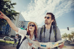 Tourist Couple Sightseeing City Stock Photography