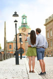 Tourist couple taking travel pictures in Stockholm Royalty Free Stock Image
