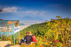 A tourist couple on the top of the Pokhara. Stock Image