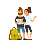 Tourist couple with travelling backpack looks on map Stock Photos