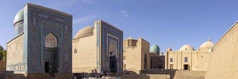 Tourist in courtyard at the Shah-i-Zinda Ensemble, Samarkand, Uz stock image