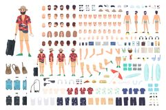 Tourist creation set or DIY kit. Collection of cartoon character s body parts, face with different emotions and skin. Colors  on white background. Vector Royalty Free Stock Photo