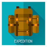 Tourist creative illustration of backpack in flat Royalty Free Stock Photography