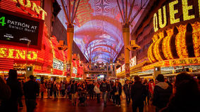 Tourist Cross The Road at Freemont Street at Night in Las Vegas Stock Image