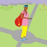 Tourist crossroads. Illustration of a modern tourist girl with a bag and a navigator standing at a crossroads, and she thinking which way to go Royalty Free Stock Photography