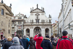 Tourist crowd in center of Prague Royalty Free Stock Photo
