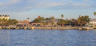 Tourist Crowd At Mallory Square, Key West. A tourist crowd awaiting another sunset and entertainers at the famous Mallory Square in Key West, Florida during Royalty Free Stock Photos