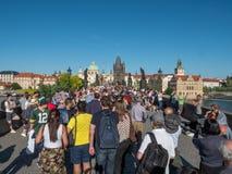 Tourist Crowds on Charles Bridge in Prague, Czech Republic stock photos