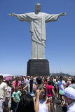 Tourist Crowds Sightseeing at Corcovado Rio Brazil. Crowds of tourists sightseeing at the Christ monument at Corcovado Rio de Janeiro Brazil Royalty Free Stock Images