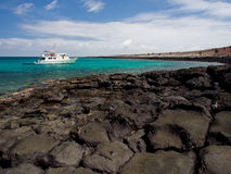 Tourist cruise boat in the Galapagos Islands stock photography