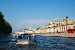 Tourist cruise boat on the river Neva in St. Petersburg stock image