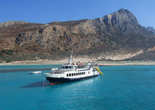 Tourist Cruise Ship - Greece, Crete, Balos Bay Stock Images