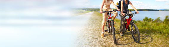 Tourist cycling on bicycle Stock Image