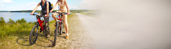 Tourist cycling on bicycle royalty free stock photo