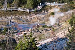 Tourist damaging fragile landscape. September 2017, Yellowstone park Wyoming USA; a tourist disobeys signs to stay on the board walk around geothermal vents Stock Photo