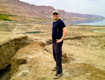 Tourist in Dead Sea Royalty Free Stock Photos
