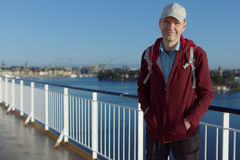 Tourist on a deck of cruise ship Royalty Free Stock Image