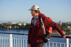 Tourist on a deck of cruise ship Stock Images
