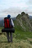 Tourist in den Bergen Stockbilder