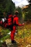 Tourist in den Karpaten-Bergen Lizenzfreies Stockbild