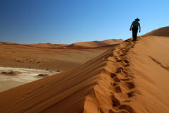 Tourist, der auf Düne große Mutter in Sossusvlei, Namibia geht Lizenzfreies Stockfoto