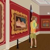 Tourist in der Bildergalerie Lizenzfreies Stockbild