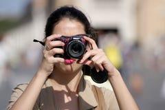 Tourist, der ein Foto nimmt Stockbild