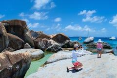Tourist an der karibischen Küste Lizenzfreies Stockbild