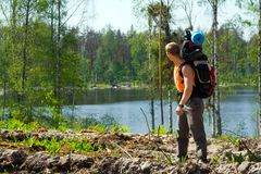 Tourist an der Natur stockbilder